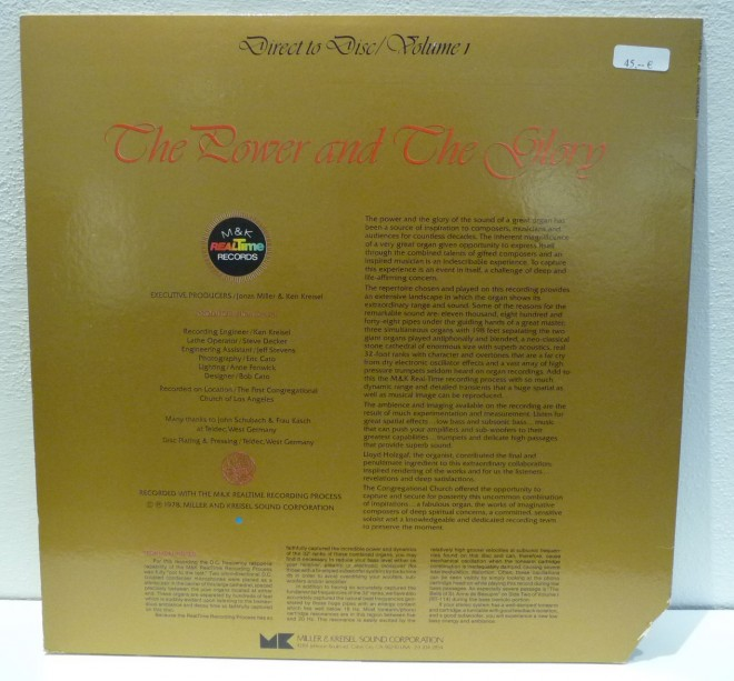 LP-The Power and the Glory - Direct to Disc-M&K-2